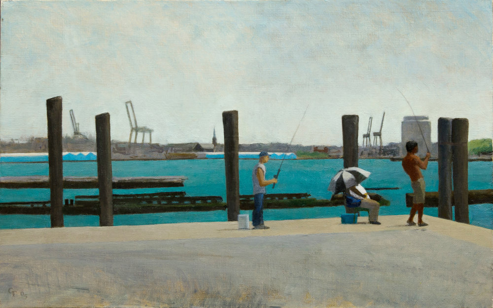 "Fishing at Battery Park, o/c, 14"" x 22"""