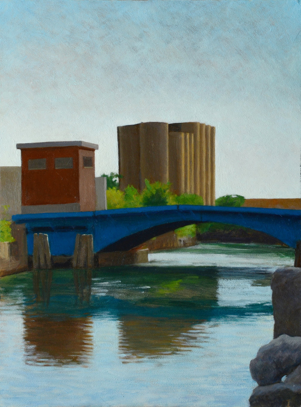 "Gowanus Bridge, oil on panel, 16"" x 12"""