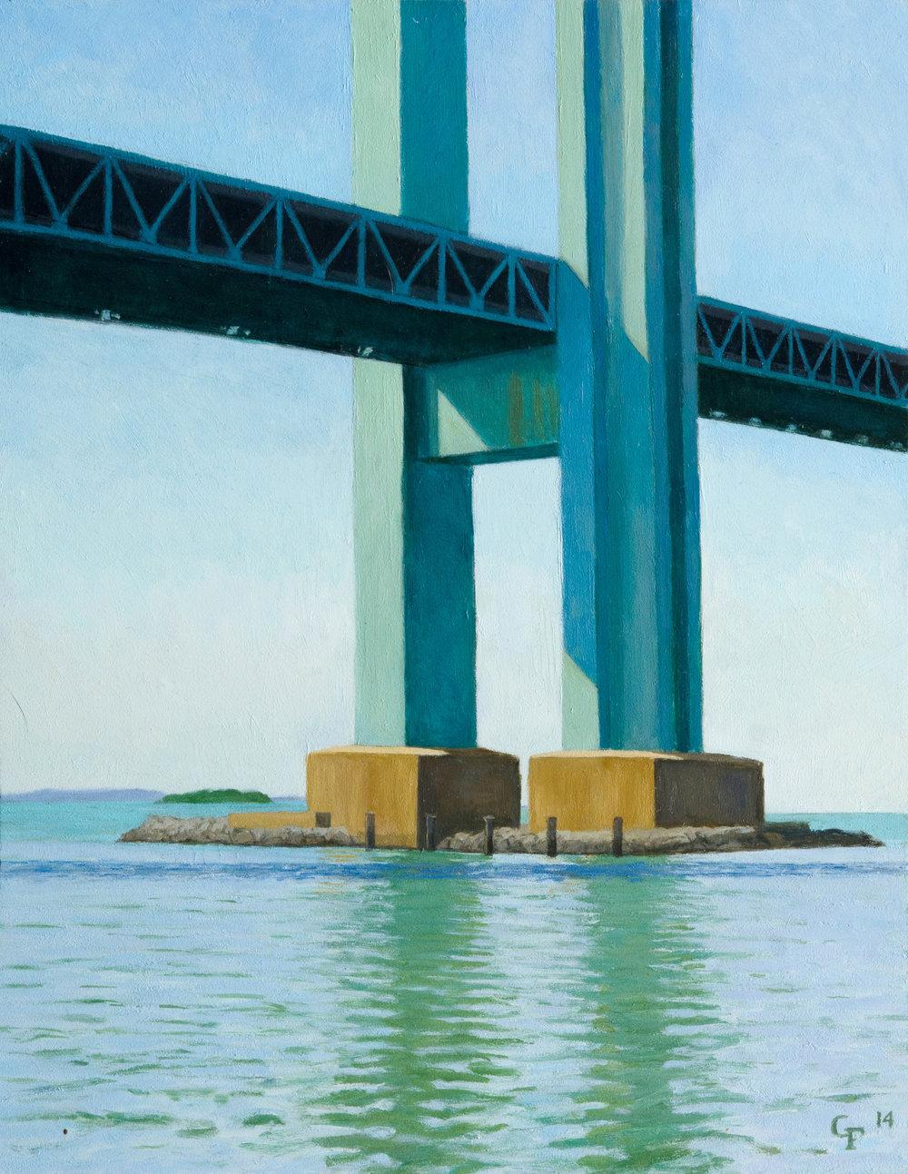"Verrazono Bridge Pier, o/c, 14"" x 11"""