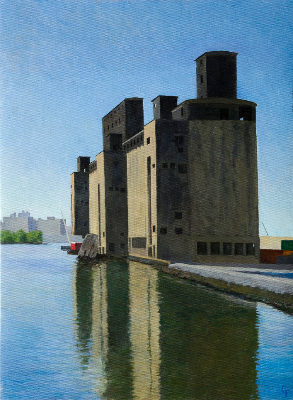 "Grain Silo, oil on canvas, 24"" x 18"""