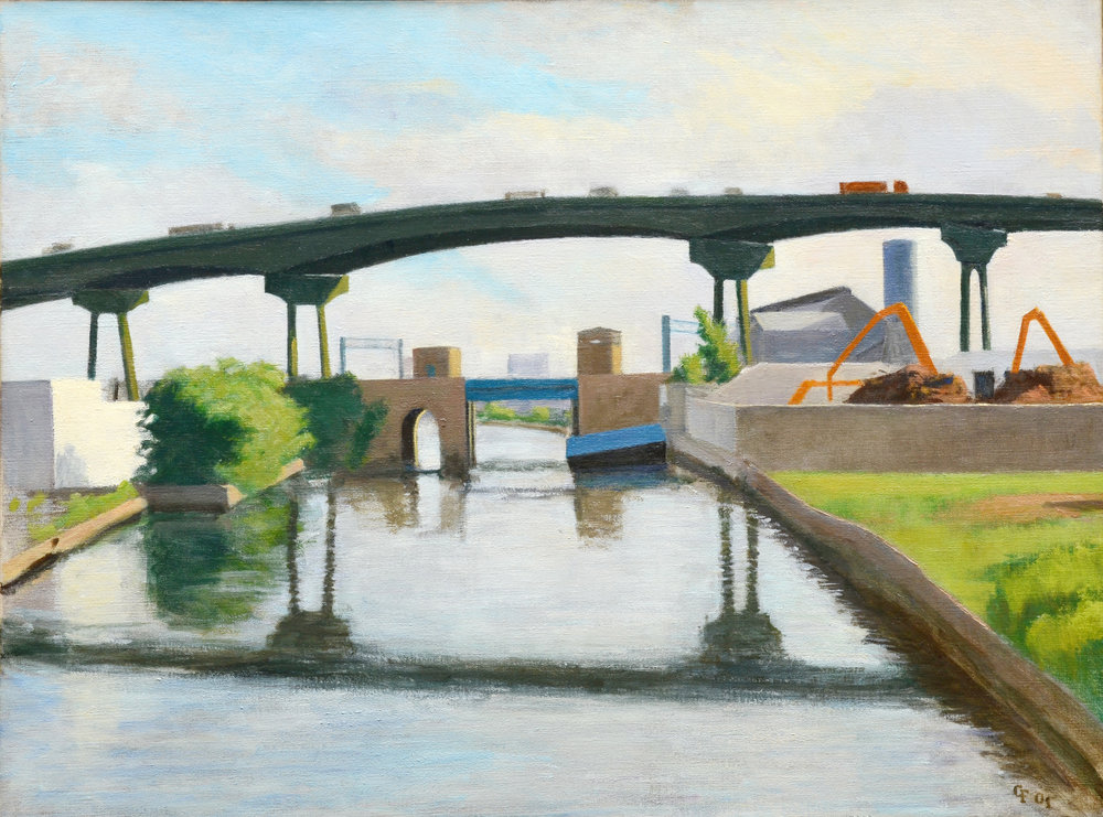 "Skyway at Canal, oil on canvas, 18"" x 24"""