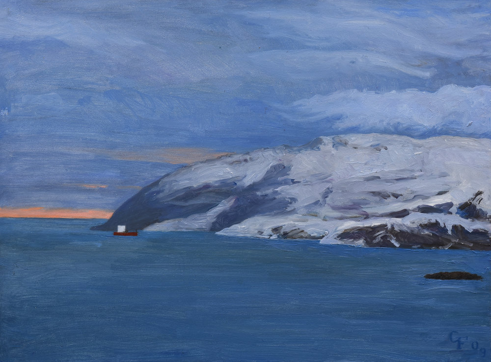 "Kirkenes Norway, oil on panel, 9"" x 12"""