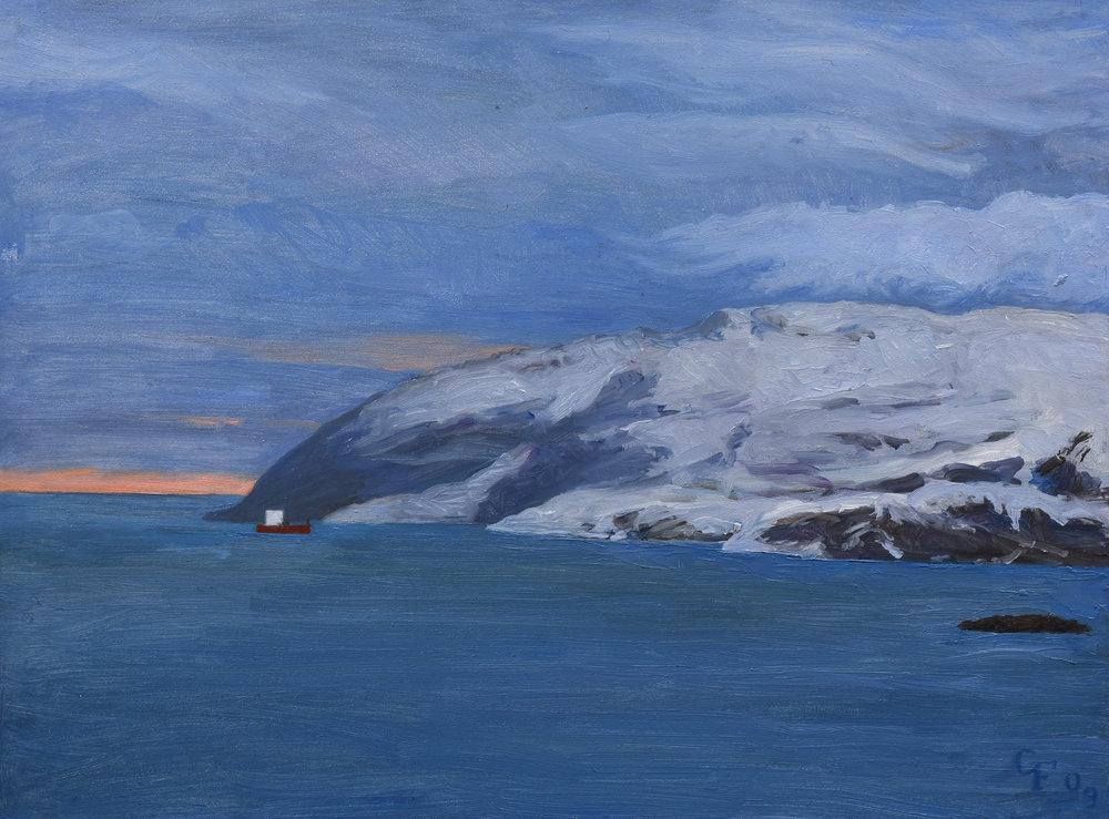 "Kirkenes Norway, oil on panel, 9"" x 12"""