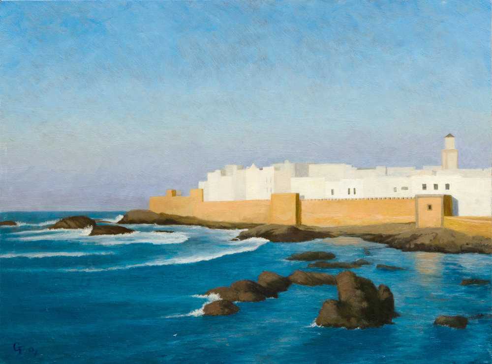 "Essaouira, Morocco, oil on panel, 12"" x 16"""