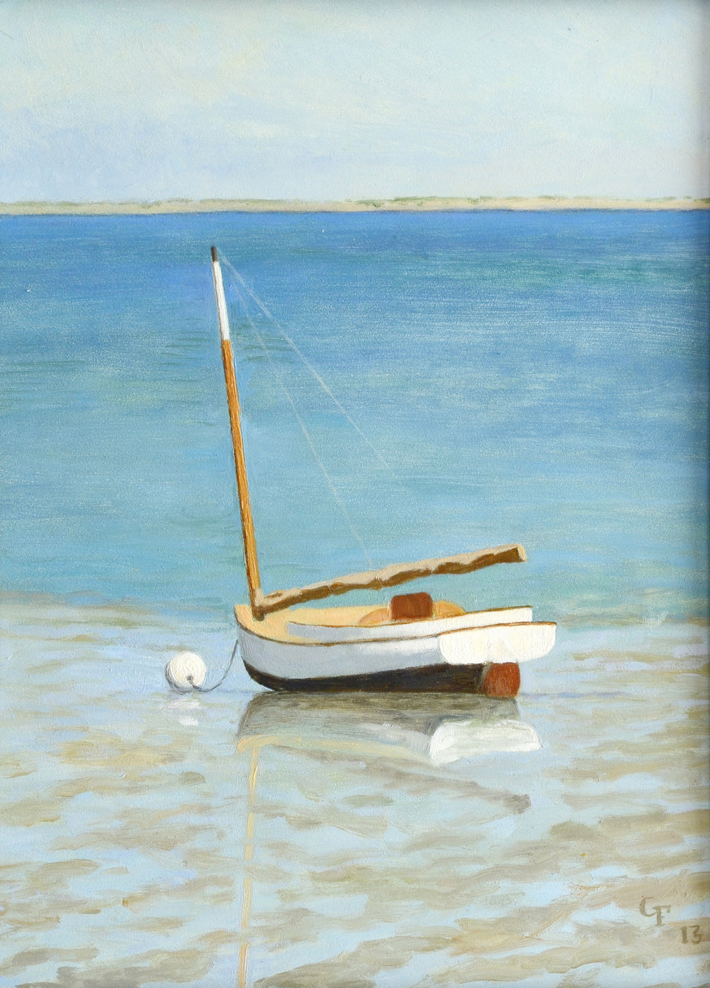 "Cat Boat Low Tide, Duxbury, MA, o/p, 12"" x 9"""
