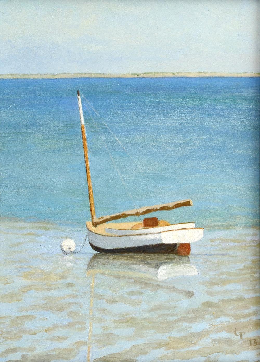 "Cat Boat Low Tide, Duxbury, MA, o/p, 12"" x 9"""