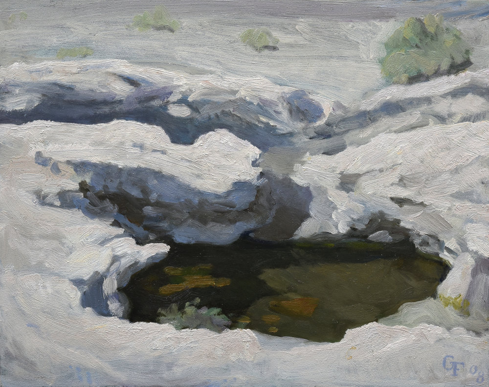 "Saline Valley Hot Springs, oil on panel, 8"" x 10"""