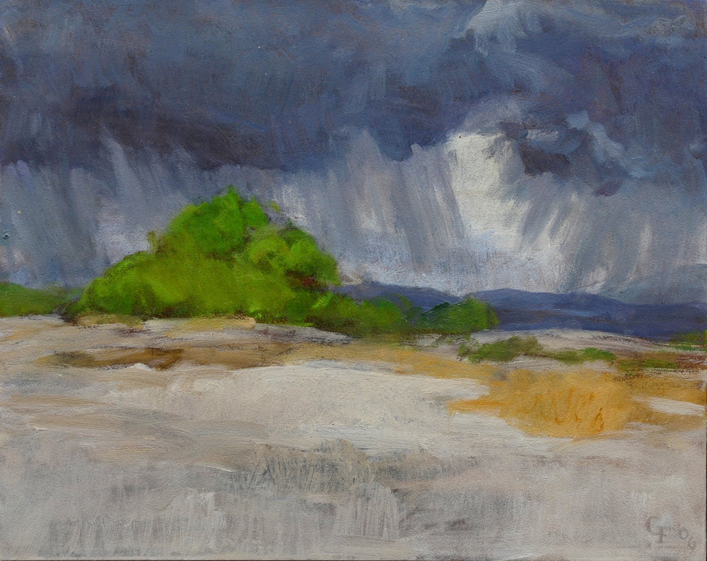 "Storm over Death Valley, oil on panel, 8"" x 10"""