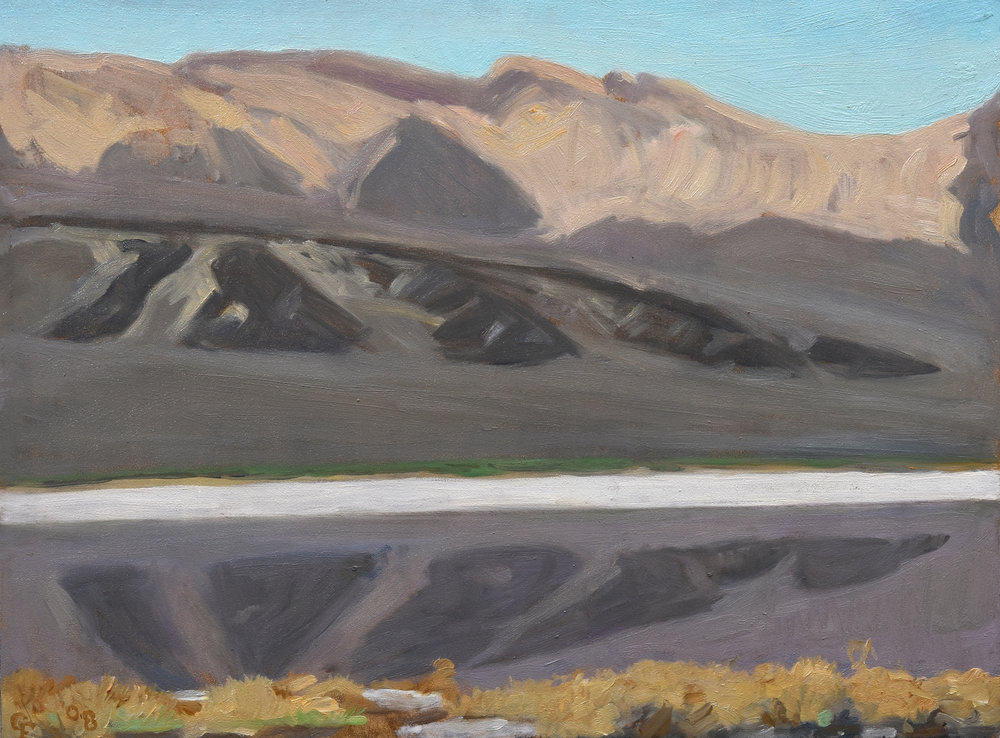 "Saline Valley Salt Marsh, oil on panel, 9"" x 12"""