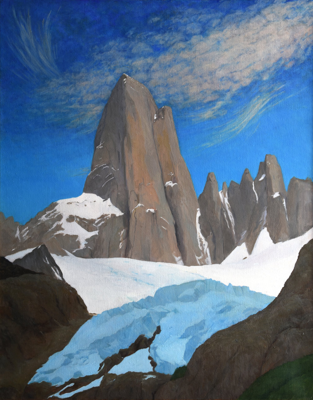 "Cerro Fitzroy, Patagona, oil on canvas, 34"" x 27"""