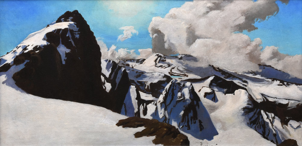 "Bolivian Panorama I, o/c, 13"" x 26"""