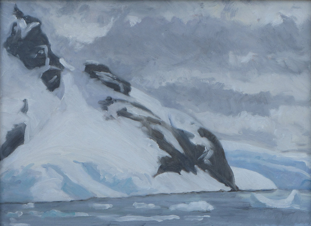 "Paradise Bay, Antarctica, oil on panel, 9"" x 12"""