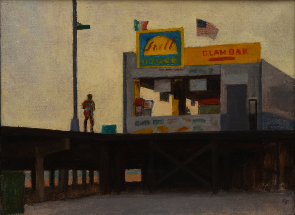 "Clam Bar, oil on canvas, 12"" x 16"""
