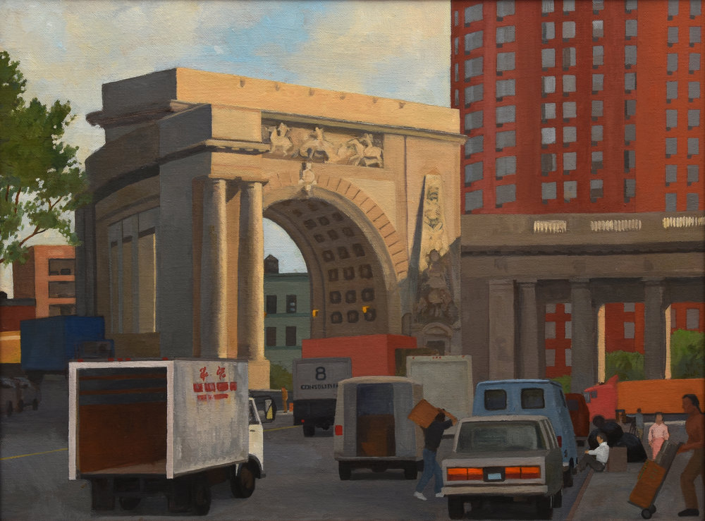 "Manhattan Bridge Entrance, oil on canvas, 18"" x 24"""