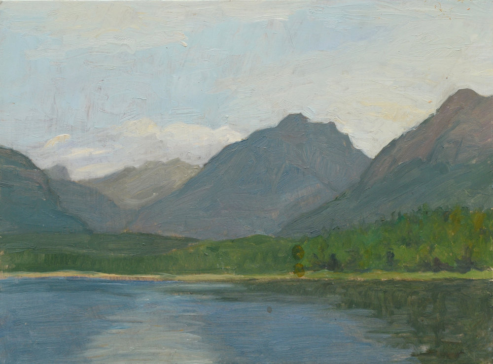 "Lake McDonald, oil on panel, 9"" x 12"""