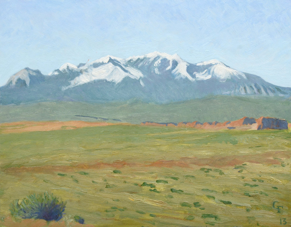 "Henry Mountains, oil on panel, 11"" x 14"""