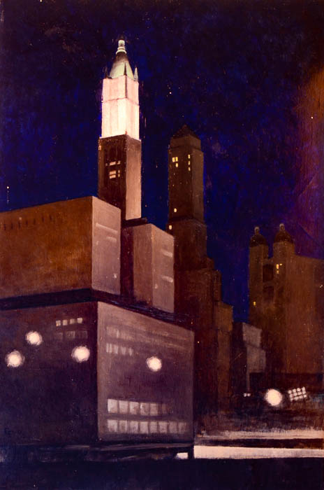 "Woolworth Building WTC site, oil on canvas, 24"" x 16"""