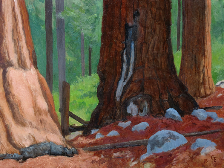 "Giant Trees, oil on panel, 9"" x 12"""