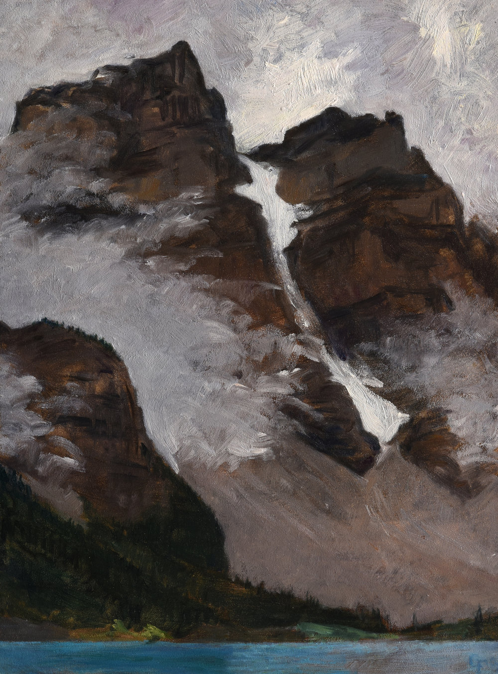 "Moraine Lake, Snow Couloir, oil on panel 12"" x 9"""