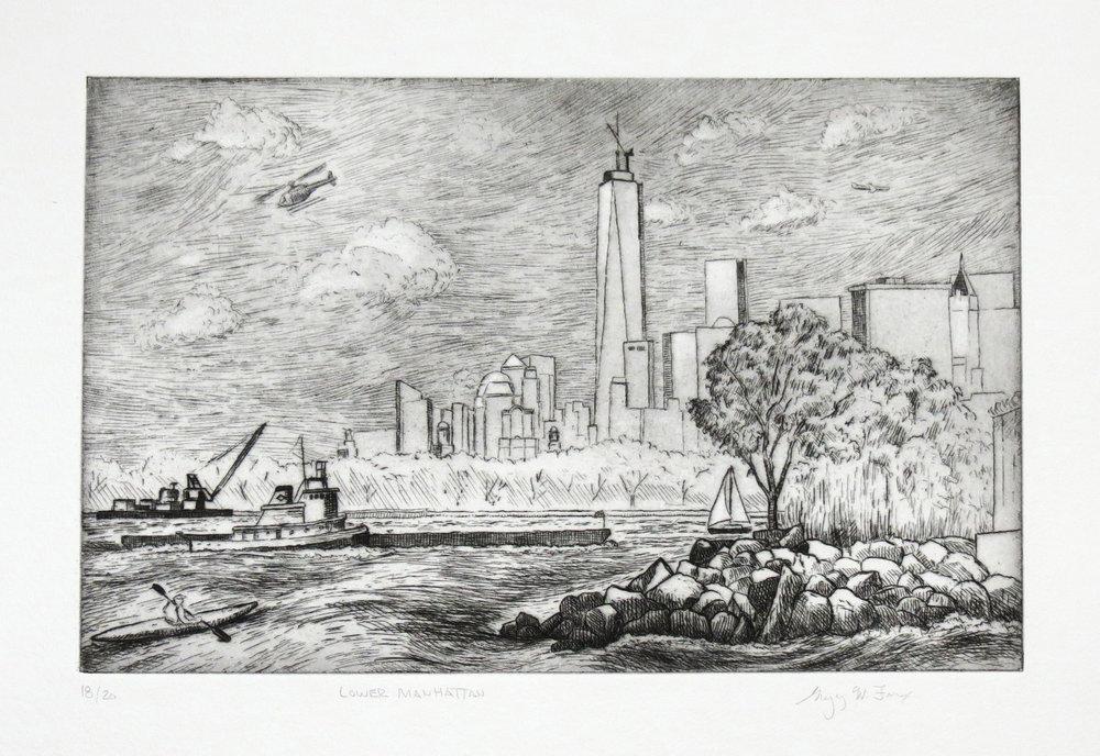 Lower Manhattan, etching