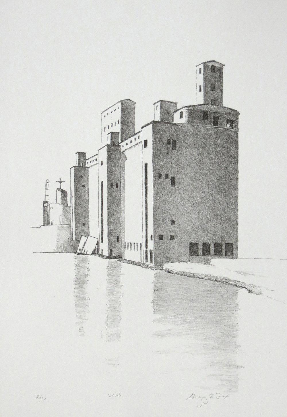 Grain Silos, lithograph