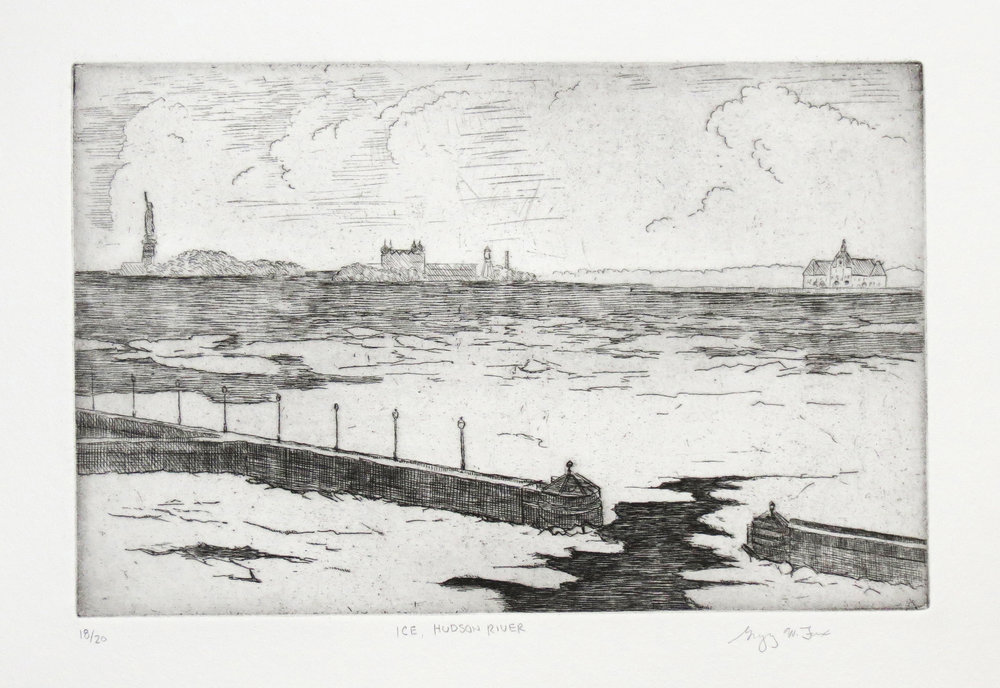 Ice, Hudson River, etching