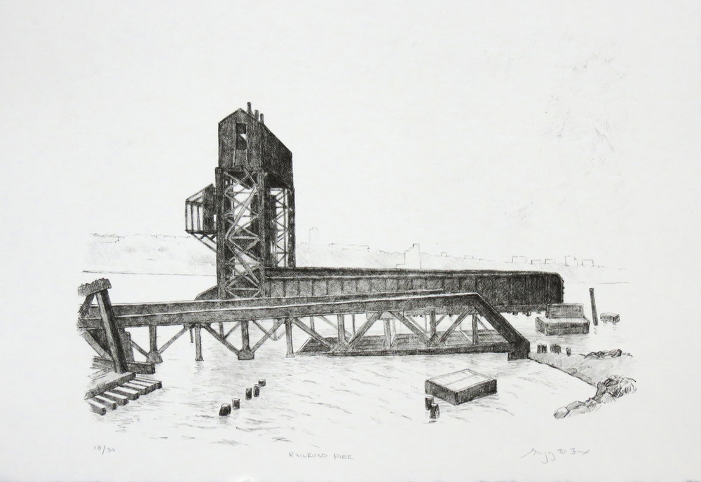 Railroad Pier, lithograph