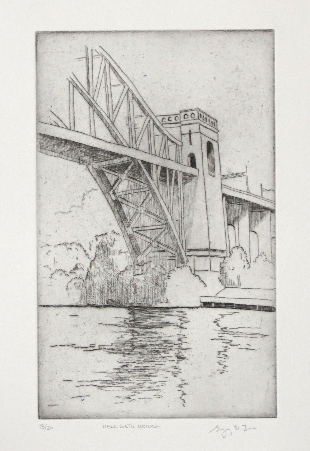 Hell Gate Bridge, etching