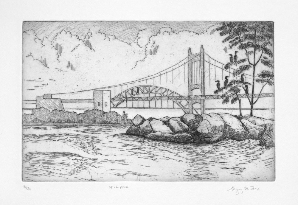 Mill Rock, etching