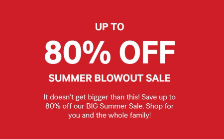 Final clearance! Shop in store and save up to 80% off our BIG Summer Sale.   No adjustments on prior purchases. May not be redeemed for cash or cash equivalent and is not transferable. Valid in US only. See sales associate for more details.      Valid through August 11, 2017