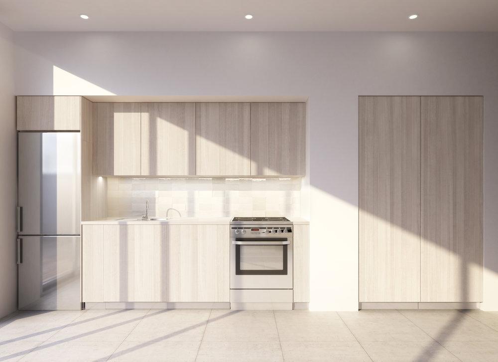 Las cocinas - La cocina abierta refuerza el carácter social y familiar de este espacio. Las cocinas están equipadas con placa de inducción, lavavajillas integrado,horno-microondas Bosch Energy-Star, acabados de madera de roble blanco, y encimeras de Silestone.