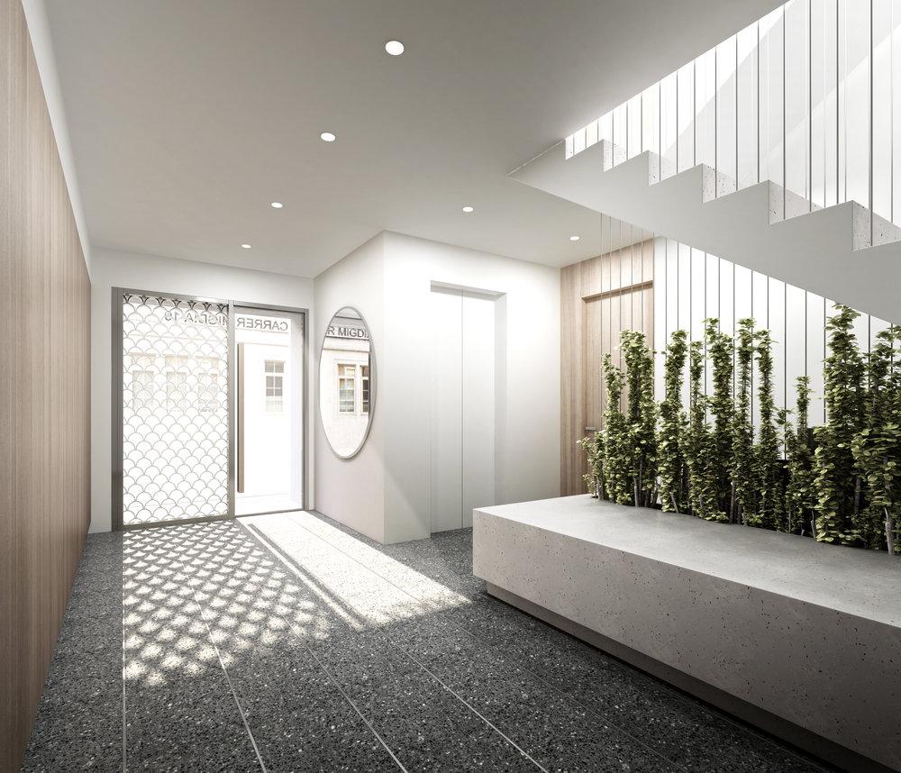 Imagen del acceso al edificio residencial