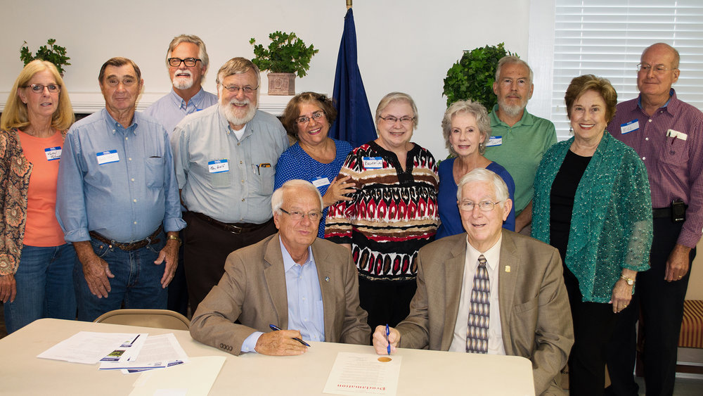Mayor of Murray, Jack Rose and Larry Elkins, Judge-Executive of Calloway County presenting proclamation to CCRTA for Retired Teachers Week, October 15-21, 2017.