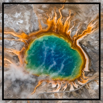 grand prismatic hot spring colorful aerial