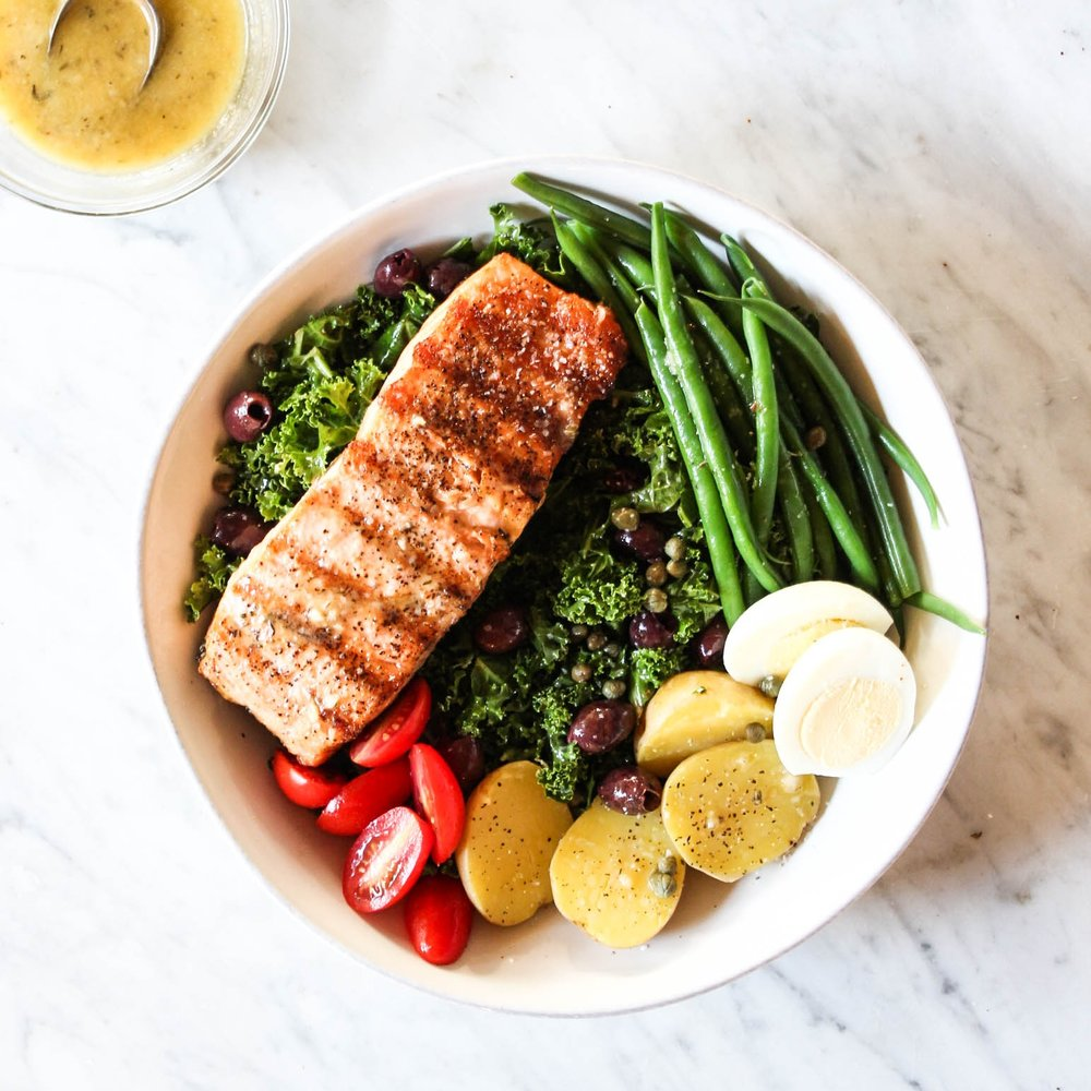 Salmon and Kale Nicoise Salad