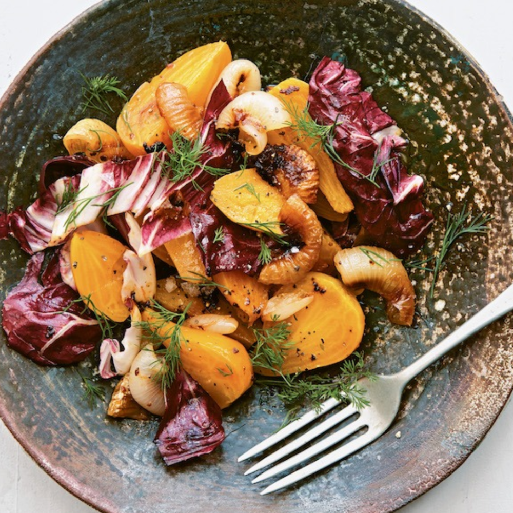 Yellow Beet & Harissa Onion Salad