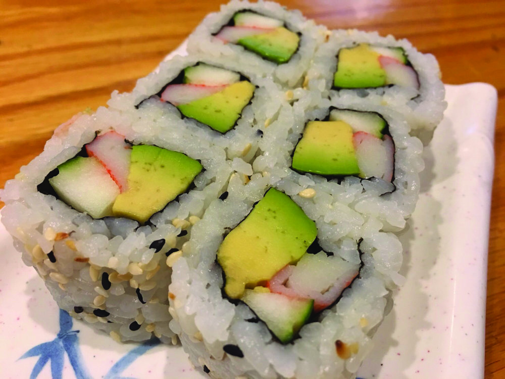 California Roll   - Avocado, cucumber and crab meat   6.00