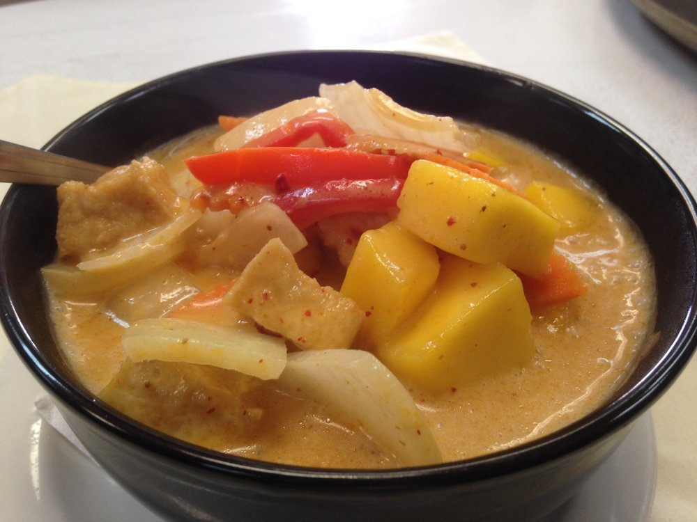 Mango curry - Mango, carrot, onion, red bell pepper in homemade mango curry, served with rice   7.25 / 11.95