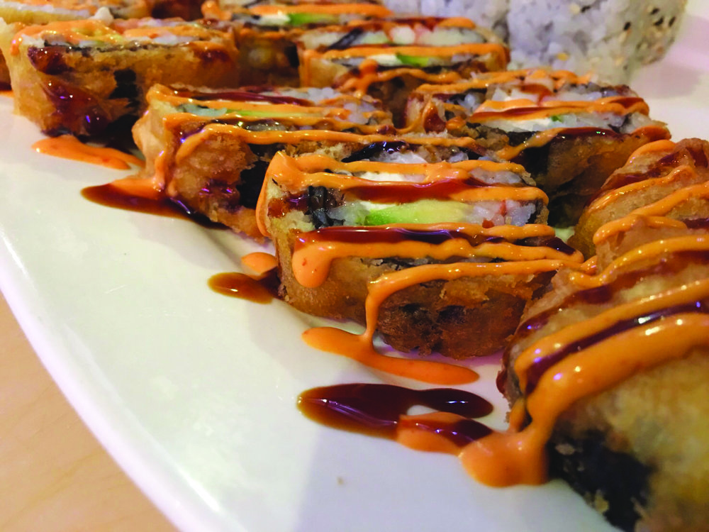 Sweet 17 Roll - Deep fried crab meat, shrimp, cream cheese and avocado topped with spicy mayo and eel sauce   10.95