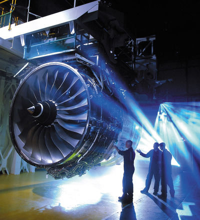 """Fig 1.  Rolls Royce. """"Trent 1000 Engine"""" Flickr .Accessed August 17 2017. https://www.flickr.com/photos/rolls-royceplc/14314357306/in/album-72157644997020625/  The Trent 1000 engine: Rolls-Royce has run a recycling program for more than a decade."""