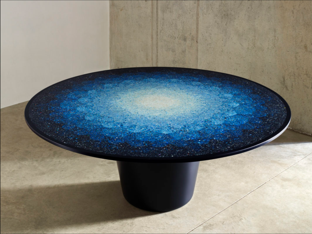Fig 1.  Niell Brodie,  Gyro Table  2016, ocean terrazzo (made from fragments of ocean plastics waste).