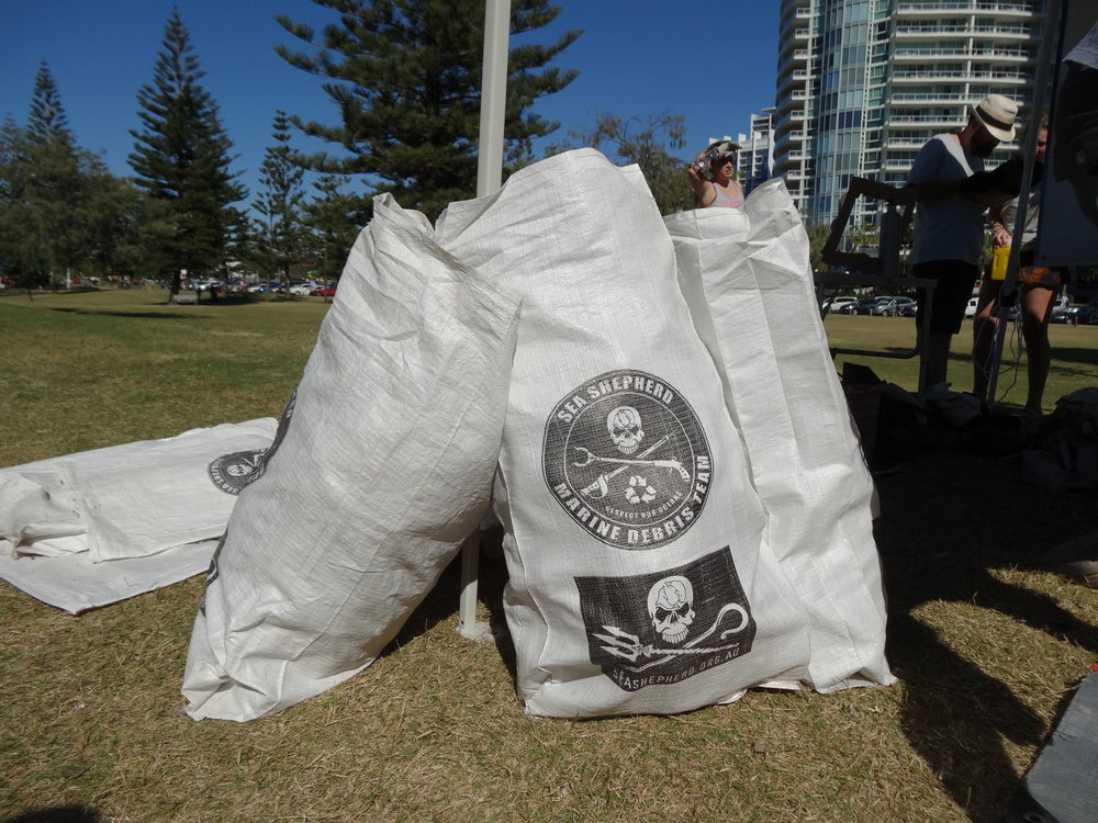 Fig 1.  Dennis, Natasha. 2017. Sea Shepherds waste collection bags. Photograph [author's own}