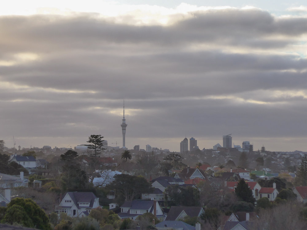 auckland skyline on cloudy day