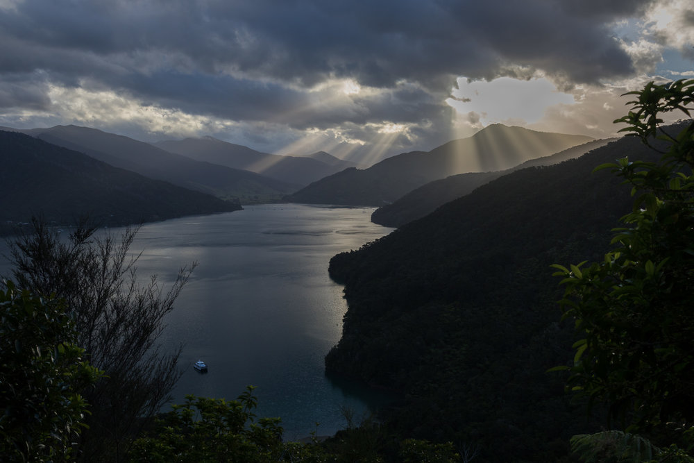 sun rays hitting queen charlotte sound