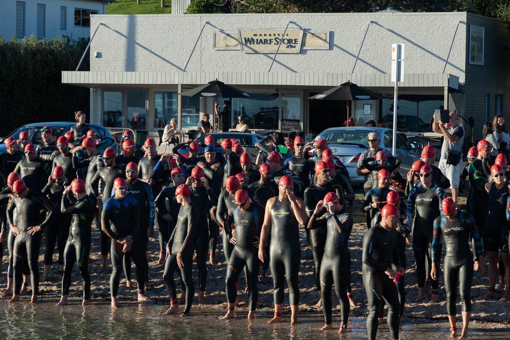 start line of triathlon in new zealand