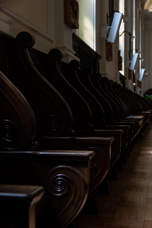 seating at monastery chapel