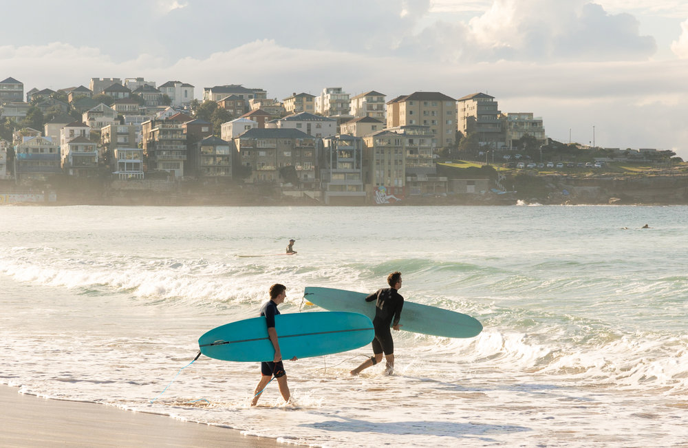 two surfers heading out into the water at bondi beach
