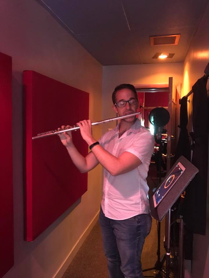 "Joe Graziosi about to record the flute track to ""No One is Alone"""