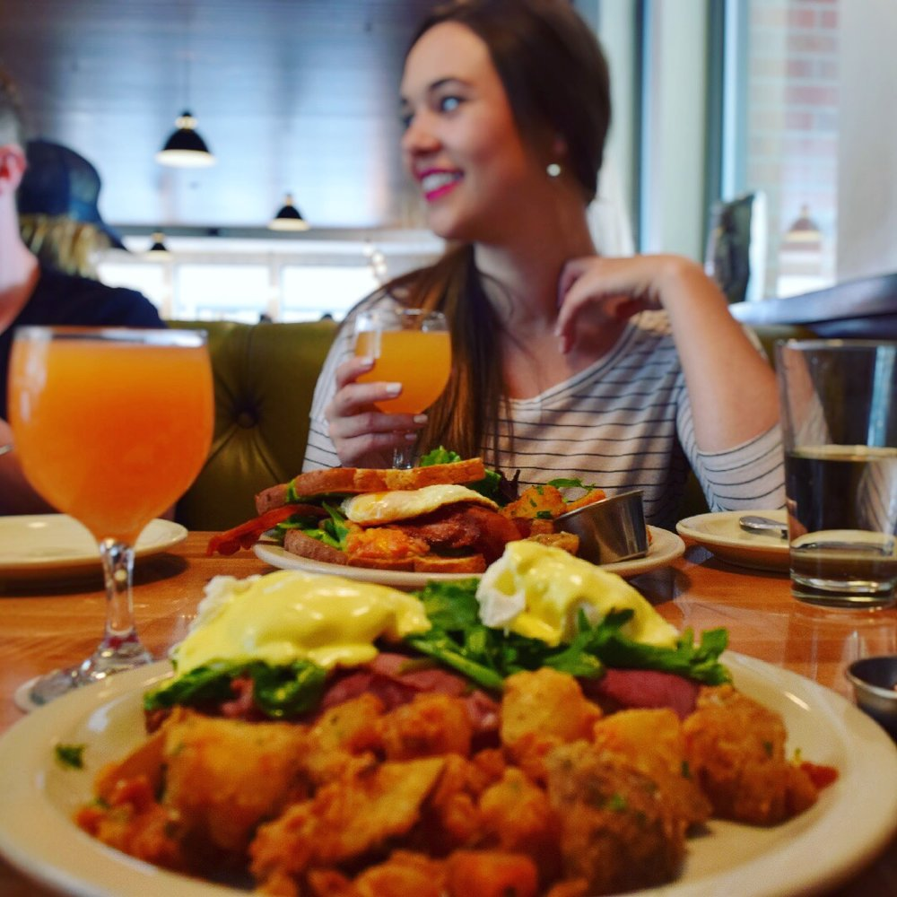 Pictured here: Classic Benny and B.E.L.T. + 2 grapefruit mimosas