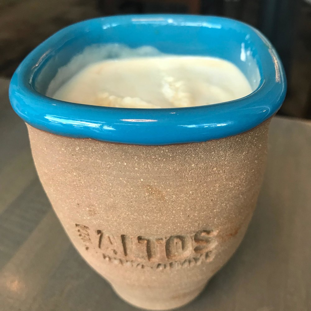 Ozo coffee roasters drip, olmeca altos resposado, fresh mezcal whip with cinnamon